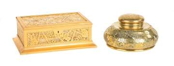 Tiffany Studios, New York, Grapevine Covered Box and Inkwell