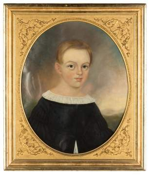 19th Century Portrait Painting of a Young Boy