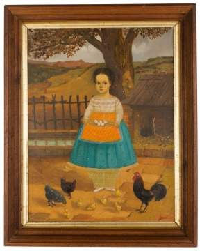 Horacio Renteria Rocha (Mexican, 1912-1972) Portrait of a Young Girl and Farm Yard