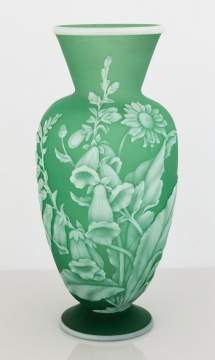 Thomas Webb Cameo Vase with Flowers