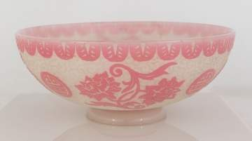 Steuben Acid Cutback Bowl with Asian Motif