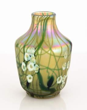 Steuben Aurene Leaf and Vine Vase with Millefiori