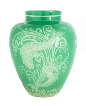Steuben Green Jade to Alabaster Acid Cut-Back Vase