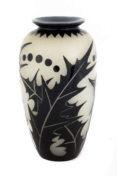 Steuben Mirror Black Over Alabaster Acid Cut-Back Vase
