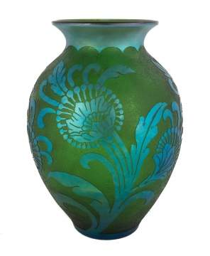 Steuben Green Jade Acid Cut-Back with Blue Aurene Vase