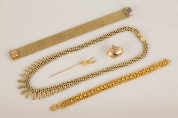 Group of Gold Bracelets, Necklace and Accessories