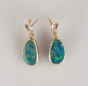 Pair of 14K Gold, Opal and Diamond Drop Earrings
