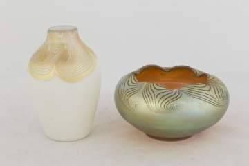Two Steuben Decorated Aurene Vases