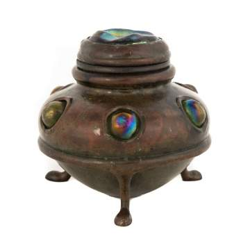 Tiffany Studios, New York, Bronze Inkwell with Turtle Backs and Cabochons