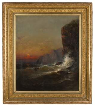 Attributed to James Hamilton (Irish/American, 1819-1878) Sun Setting on a Shipwreck