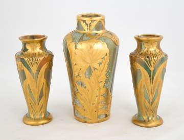 Austrian Stoneware Garniture Set of 3 Vases