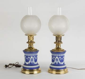 Pair of Wedgewood Oil Lamps with Etched Shades