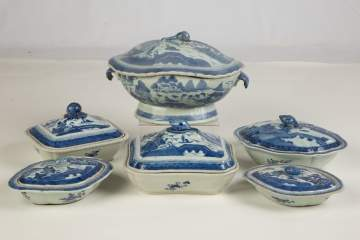 Group of Chinese Export Canton Covered Serving Pieces