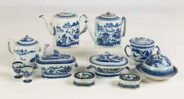 Group of Chinese Export Canton Teapots, Tureens, Butter Dish and various pieces