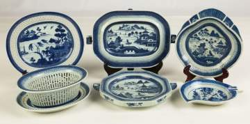 Group of Chinese Export Canton including Two Warming Plates