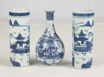 Group of Chinese Export Canton Vase and Pair of Bottles