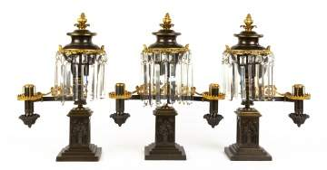 Gothic Three Piece Argand Lamp Garniture