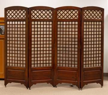 Oak Four Sectional Screen