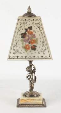 Signed Pairpont Boudoir Lamp, White with Flowers