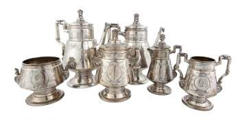 Ball, Black & Co. Egyptian Revival Six Piece Tea Set