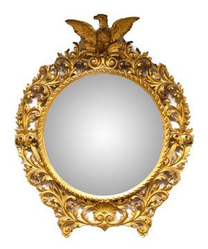 19th Century Carved and Giltwood Convex Mirror with Eagle