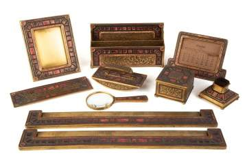 "Tiffany Studios, New York, ""Art Deco"" Pattern Desk Set"