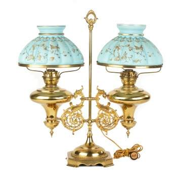 Double Brass Student Lamp with Griffins
