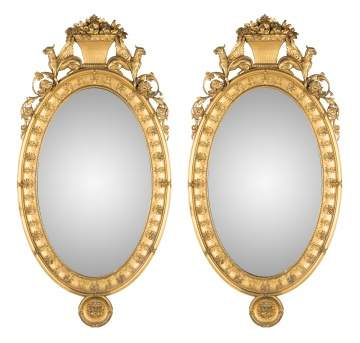 Pair of Adams Style Neoclassical Carved and Gilt Wood Mirrors