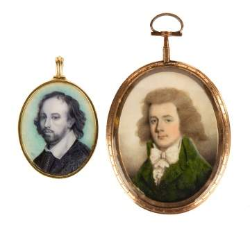 Two Early 19th Century Miniature Portraits with Gold Frames