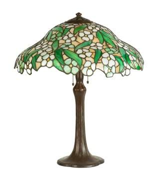 Handel Signed Base and Shade Leaded Table Lamp