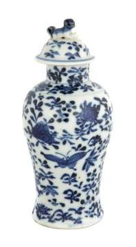 Chinese Miniature Blue & White Covered Vase