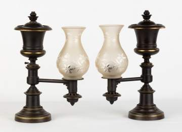 Pair of H. N. Hooper & Co. Boston Argand Lamps