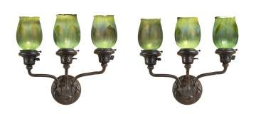 Pair of Tiffany Studios, New York, Three Arm Sconces