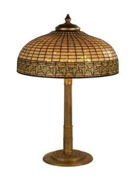 "Tiffany Studios, New York, ""Greek Key"" Table Lamp"