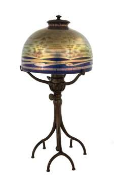 Tiffany Studios, New York, Blue Favrile Lamp with Spider Web Design