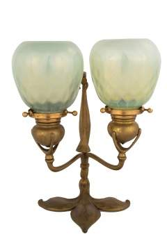 Tiffany Studios, New York, Two Light Candle Lamp