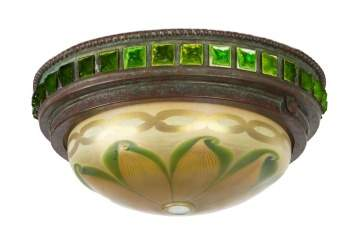 Tiffany Studios, New York, Bronze Ceiling Light