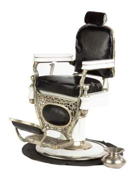 "Rare ""Theo. A. Kochs"" Chicago Cast Metal and Porcelain Salesman's Sample Barber Chair"