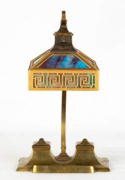 Bradley Hubbard Desk Lamp with Inkwells