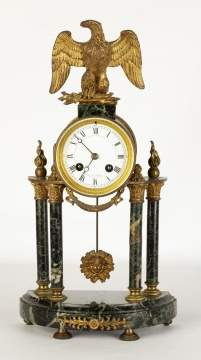 French Marble and Brass Column Clock