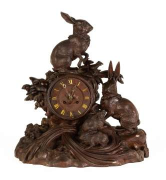 Carved Black Forest Shelf Clock with Rabbits