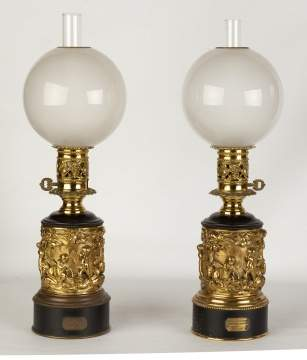 Pair Brass Oil Lamps