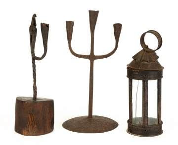 Group Early 19th Century Iron and Metal Lighting