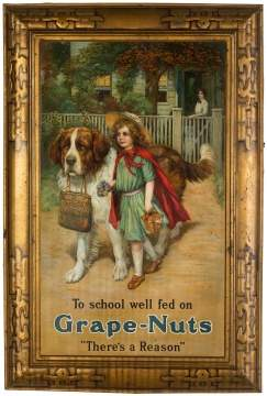Tin Lithograph Grape Nuts Sign