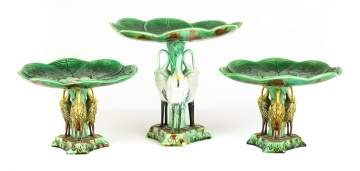 Three Piece English Majolica Compote Set With Herons