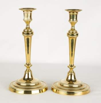 Pair of Early French Brass Candle Sticks