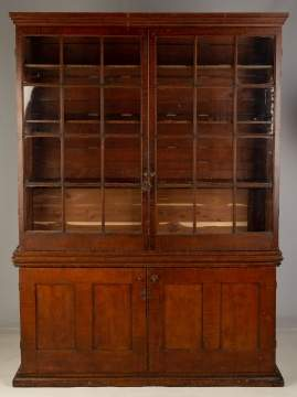 Two Piece Grain Painted Bookcase Cupboard