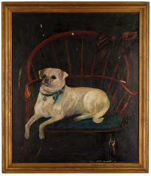 Portrait of Pug Seated in Painted Red Windsor Chair