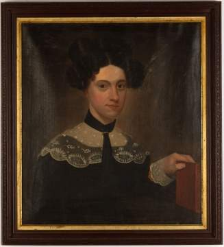 Portrait of Young Lady Holding Red Book