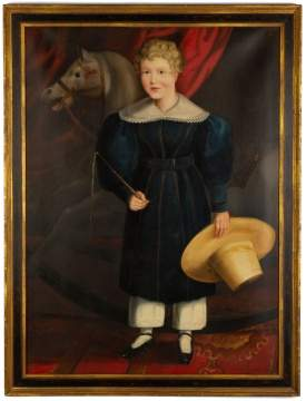 19th Century Portrait of Young Girl With Rocking Horse